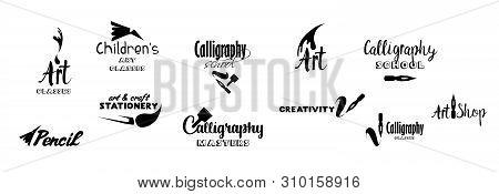 Art Classes Lettering Logo Design Set. Calligraphy School, Masters, Craft Shop Logo With Hand, Calli