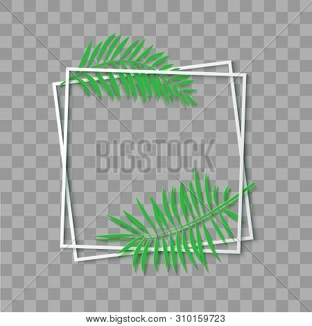 Paper Cut White Frame With Tropical Leaves. Two Inclined Square Frames Lie One On Another. Vector Ca