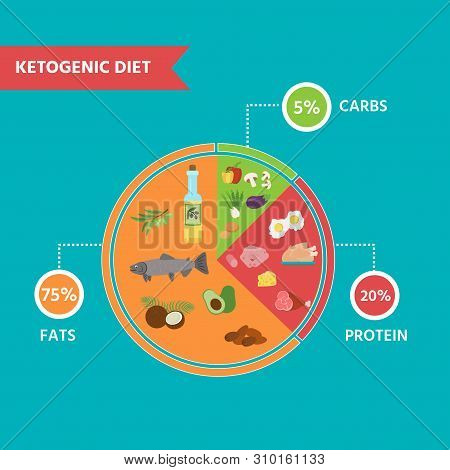 Nutrition Infographics: Food Pyramid Diagram For The Ketogenic Diet. Healthy Eating Concept.vector I