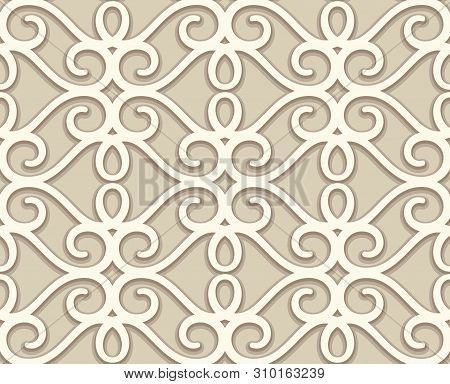 Vintage Beige Lace Texture, Decorative Ornamental Tile, Swirly Seamless Pattern