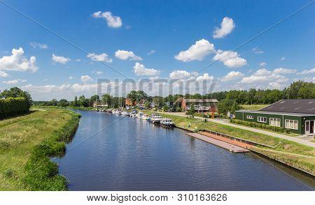 Canal Between Echten And Hoogeveen Cities In Drenthe, Netherlands