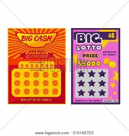 Lottery Ticket Vector Lucky Bingo Card Win Chance Lotto Game Jackpot Ticketing Set Illustration Lott