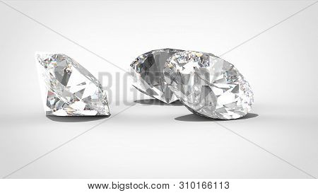 Luxury Diamonds On Whte Backgrounds - Depth Of Field. 3d Rendering Model. Isolated White Background