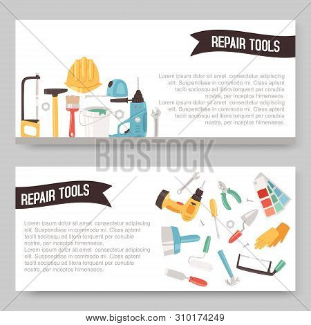 Repair Service Tools Set Of Banners Vector Illustration. Home Repair. Construction Equipment. Hand S