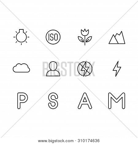 Photo And Video Camera Setting Icon Simple Symbols Set. Photo Shooting Modes Settings, Iso, Flash, P