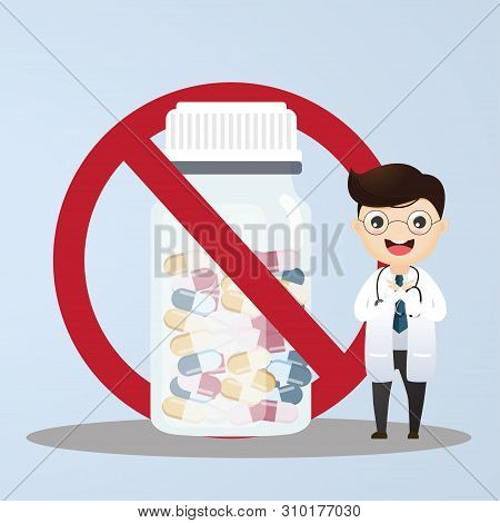 Doctor Warns About Prohibited Medications.doctor Showing Stop Hand. Vector, Illustration