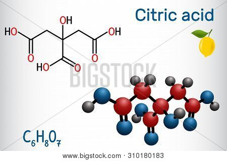 Citric Acid Molecule, Is Found In Citrus Fruits, Lemons And Limes. Is Used As Additive In Food, Clea