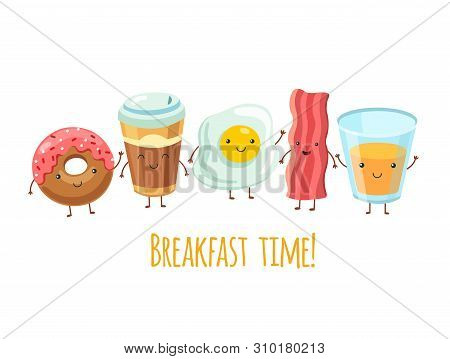 Happy Breakfast Characters. Egg Sandwich Coffee. Breakfast Meal Fried Bacon. Cartoon Funny Food Frie