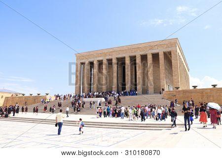 ANKARA, TURKEY -  11 JUNE, 2019: Tourists visit the mausoleum of Turkish leader Mustafa Kemal Ataturk