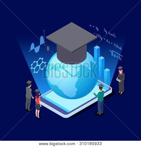Worldwide Education Isometric Concept. International Students And Education App For Smartphone Vecto