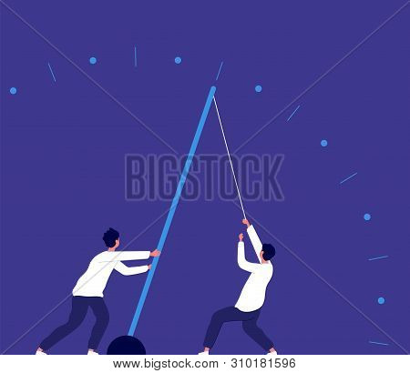 Deadline urgency. Man pulling clock arrow, hurry up. Team power effort and economy growth business vector concept. Deadline clock, time hurry illustration poster