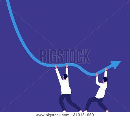 Bankrupt Concept. People Trying To Keep Downward Financial Trend Arrow Economic Risk Crisis, Money L