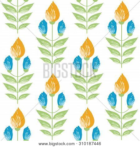 Vibrant Saffron And Aqua Blue Painterly Flowers In Minimal Damask Style Design. Seamless Vector Patt