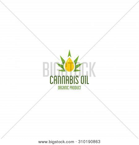 Cannabis Oil Logo. Organic Product Vector Emblem.