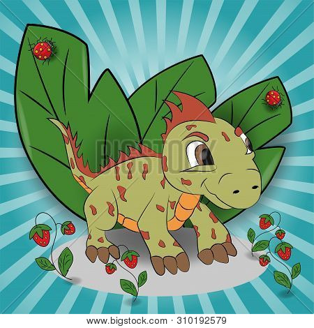 Vector Childrens Illustration Of A Small Iguana In A Meadow Among Raspberries Among Foliage Eps 10