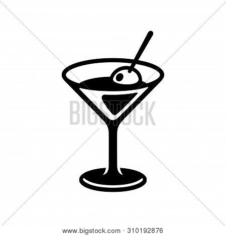 Glass Of Martini Cocktail With Olive. Black And White Drink Icon, Simple And Stylish Bar Logo. Isola