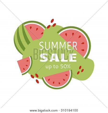 Best Offer. Summer Sale Banner For Marketing Promotion Design With Watermelon.
