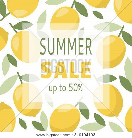 Discount Promotion Vector Banner With Lemon. Summer Vacation.