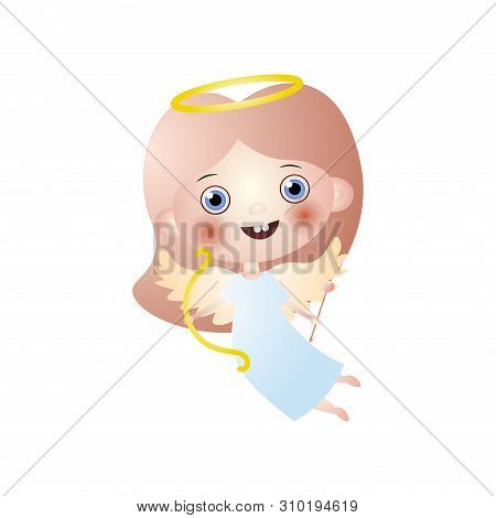 Happy Cute Angel Cupidon With Gold Bow And Arrow