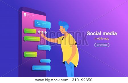 Social Media App For Texting Concept Vector Illustration Of Young Man Standing Near Big Smartphone U