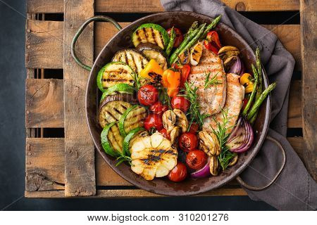 Vegan, Vegetarian, Seasonal, Summer Eating Concept. Grilled Vegetables And Chicken Breast In A Pan O