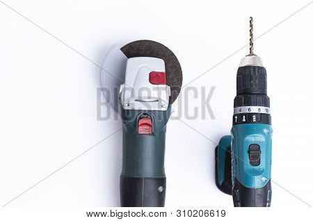 The Image Shows An Angle Grinder With A Driller Isolated On White