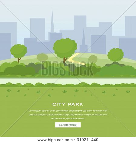 Modern City Park Vector Landing Page. Green Trees And Bushes Walkway, Skyscrapers Cityspace, Outdoor