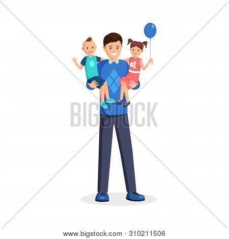 Man Holding Children Flat Vector Illustration. Happy Dad, Babysitter, Little Toddler And Smiling Gir