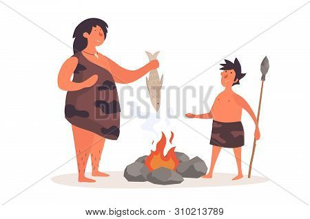 A Primitive Woman, Dressed In Pelt, Holds A Fish And Talks To Her Child. The Life Of Neanderthals An