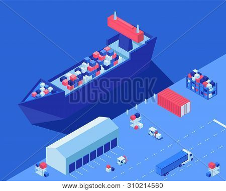Freight Ship Unloading Isometric Vector Illustration. Shipment Distribution Transport, Forklifts And