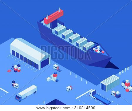 Empty Shipping Dock Isometric Vector Illustration. Warehouse Storage, Industrial Ship And Freight Tr