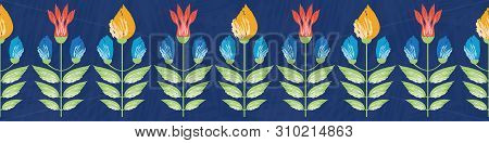 Vibrant Saffron And Red Painterly Flowers Border Design. Seamless Vector Pattern On Textured Backgro