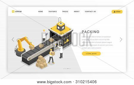 Packing Manufacture, Assembly Stage Landing Page. Automated Robotic Claw Packaging Products Ready Fo