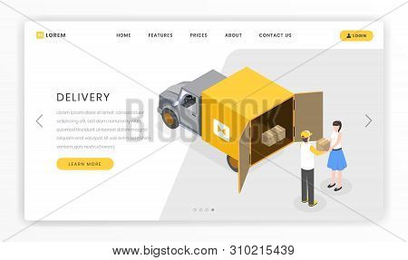 Delivery, Courier Services Landing Template. Delivering Packages, Boxes To Customers By Truck Vector