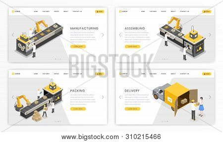 Company Manufacturing Process Landing Page Template. Factory Stages Of Product Assembly And Distribu