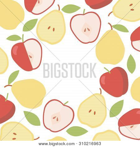 Vintage Apple And Pear Round Border. Organic Ingredient. Vector Frame Background.