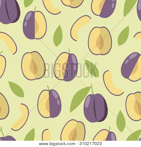 Plum Pattern On Green Background. Summer Food Illustration. Autumn Garden.