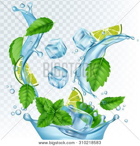 Fresh Drink Vector Illustration. Realistic Water, Ice Cubes, Mint Leaves And Lime Isolated On Transp