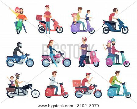 Motorcycle Riders. Male And Female Drivers In Helmet On Bike Fast Courier Characters Vector Pictures