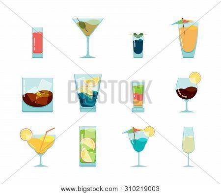 Cocktails Flat Icon. Alcoholic Summer Party Drinks In Glasses Cuba Libre Cosmopolitan Vodka Mojito V