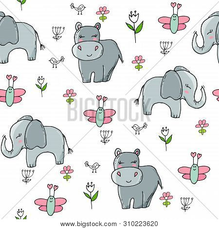 Seamless Pattern With Cute Elephants And Butterflies. Cute Background For Kids.
