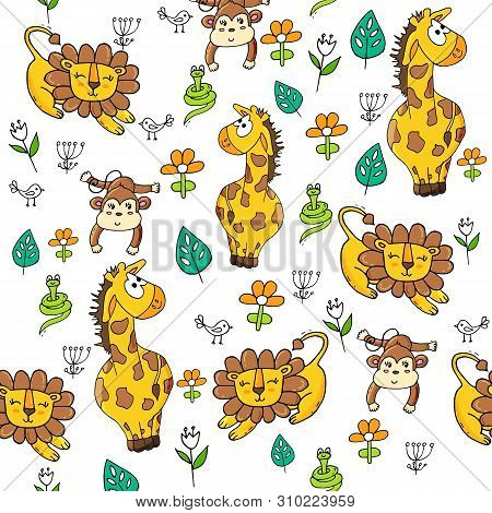 Cute Seamless Pattern With Tropical Animals On White Background.