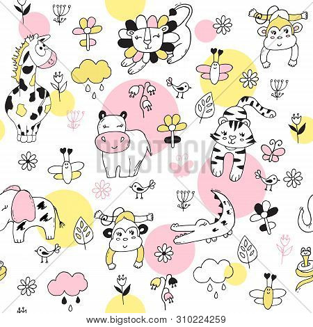 Cute Seamless Pattern With Tropical Animals On Pink Background.