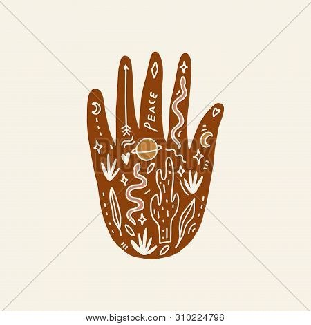 Hand With Tattoo. Crystals, Snakes And Cacti Plants. Eye Of Providence. Moon Goddess Symbol. Astrolo