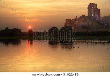 Fairytale castle and beautiful sunset
