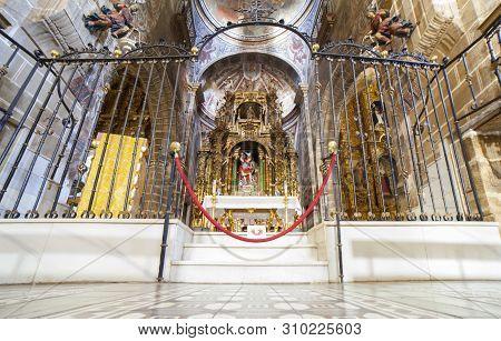 Jerez De Los Caballeros, Spain - April 15th, 2019: Archpriestal Church Of San Miguel Arcangel, Jerez