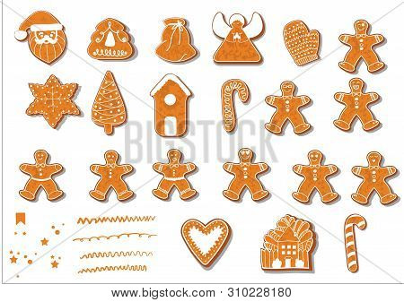 Set Of Christmas Cookies. Set Of Different Gingerbread Cookies For Christmas. Christmas Gingerbread