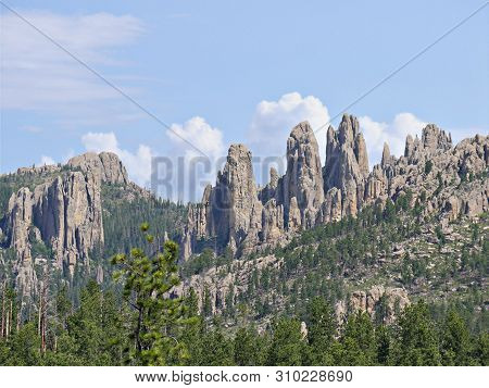 Dramatic Rock Formations Seen Along Needles Highway At Custer State Park, South Dakota.