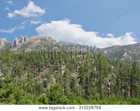Scenic Nature Views With Rocky Mountains In The Distance Seen Along Needles Highway At Custer State
