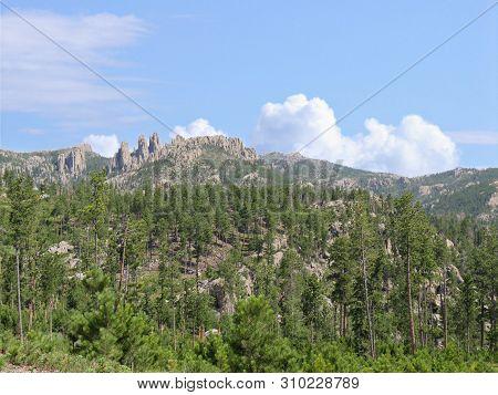 Scenic Landscape Seen Along Needles Highway At Custer State Park, South Dakota.